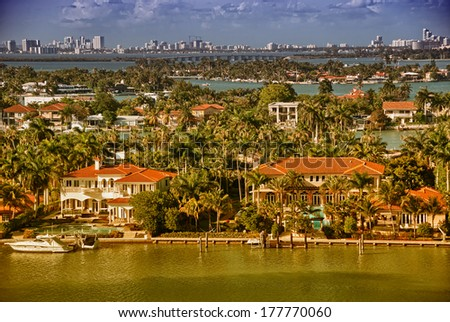 Miami, Florida. Wonderful coastal colors with skyscrapers and ocean. - stock photo