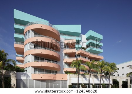 MIAMI - JANUARY 12: Ocean Place Condominium located at 226 Ocean drive was built in 2003 has an influence of art deco style January 12, 2013 in Miami, Florida. - stock photo