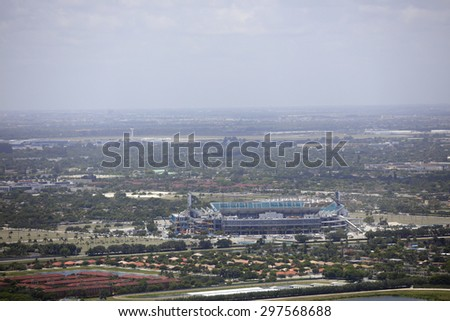 MIAMI - JULY 10: Aerial image of the Sunlife Stadium located in Miami FL is home to the Miami Dolphins NFL football team July 10, 2015 in MIami FL - stock photo