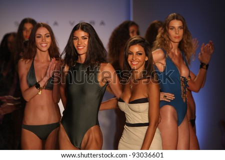MIAMI - JULY 18: Designer Sonia Vera and models walks runway finale at the Sonia Vera Collection for Spring/ Summer 2012 during Mercedes-Benz Swim Fashion Week on July 18, 2011 in Miami, FL - stock photo