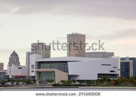 MIAMI - JULY 5: Far shot of the American Airlines Arena located at Downtown Miami and home to the Miami Heat Basketball team July 5, 2015  in Miami FL - stock photo