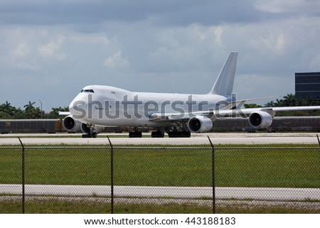 MIAMI - June 26, 2016: Atlas Air Boeing 747 at the Miami International Airport holding for take off.
