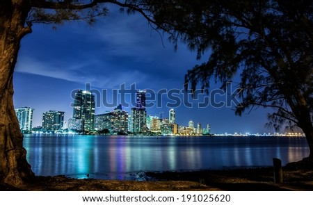 Miami Landscape from Key Biscayne - stock photo