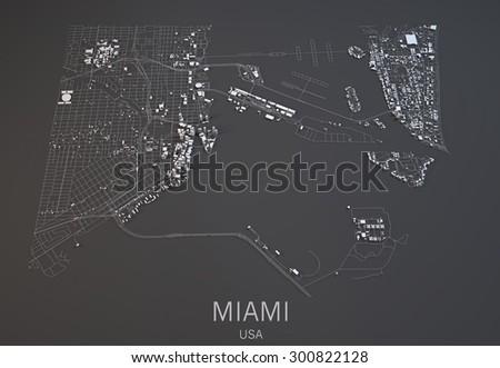 Miami map, satellite view, city, United States - stock photo