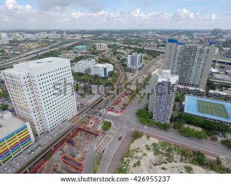 MIAMI - MARCH 20: Aerial image of the Miami Central Station construction site set for completion late 2017 which will be Miami's central transit hub  March 20, 2016 in Miami FL