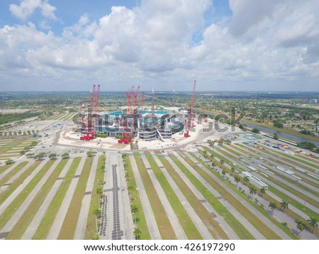 MIAMI - MARCH 15: Aerial photo of the New Miami Stadium formerly known as Sun Life Stadium located at 347 Don Shula Dr and home to the Miami Dolphins football team March 15, 2016 in Miami FL - stock photo