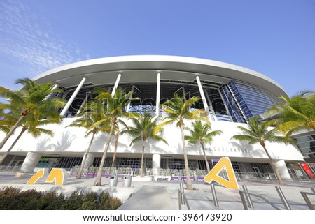 MIAMI - MARCH 26: Exterior photo of the Marlins Park home to the Florida Marlins Baseball Team was completed in 2012 and located at 501 Marlins Way