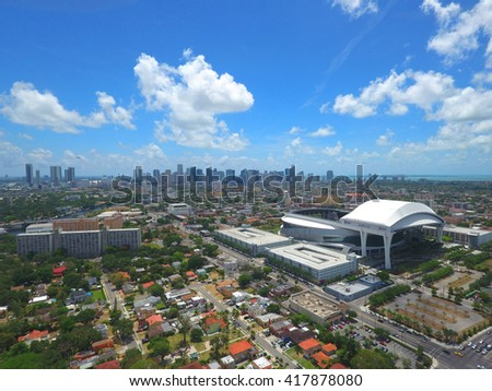 MIAMI - MAY 3: Aerial image of the Marlins Park Stadium located at 501 Marlins Way and is home to the Florida Marlins professional baseball team May 3, 2016 in Miami FL, USA - stock photo