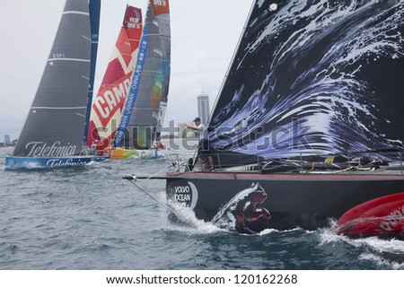 MIAMI - MAY 17: Casey Smith on foredeck of PUMA Ocean Racing's Mar Mostro during In-port race of 2011-2012 Volvo Ocean Race stopover in Miami on May 17, 2012 - stock photo