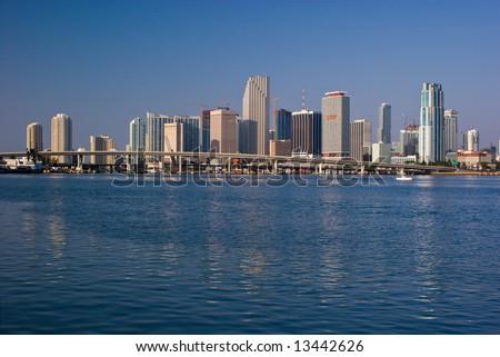 Miami Morning Bayfront Skyline - stock photo