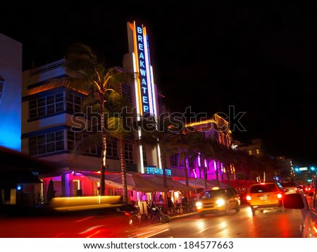 MIAMI - November 12, 2012: The Breakwater hotel on Ocean Drive in South Beach, after dark, on November 12, 2012, in Miami, Florida.