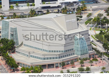 MIAMI - SEPTEMBER 3: Aerial image of the Adrienne Arsht Center for the Performing Arts located at 1300 Biscayne Blvd, Miami and was completed in 2006 with a seating capacity of 2400 September 3, 2015 - stock photo