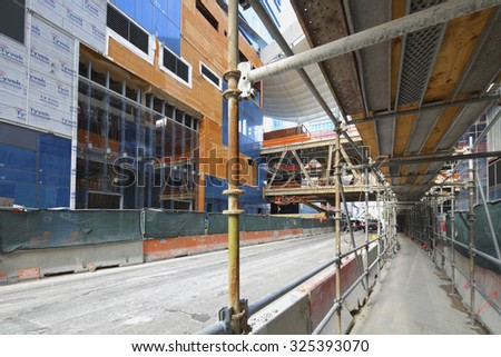 MIAMI - SEPTEMBER 25: Image of Brickell City Center construction site located at Downtown Brickell and will host mixed use commercial including residential and commercial September 25, 2015 Miami FL - stock photo