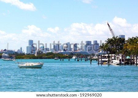 Miami skyline at daytime.City skyline as seen from Miami Beach. - stock photo