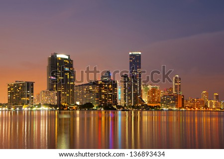 Miami Skyline at dusk showing apartment highrises in Brickell - stock photo