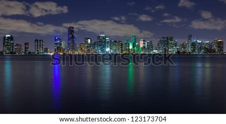 Miami skyline at night, seen from Virginia Key. - stock photo