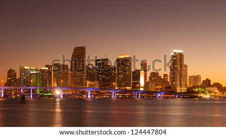 Miami skyline at sunset, seen from Watson Island.. - stock photo