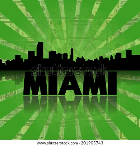 Miami skyline reflected with green dollars sunburst illustration