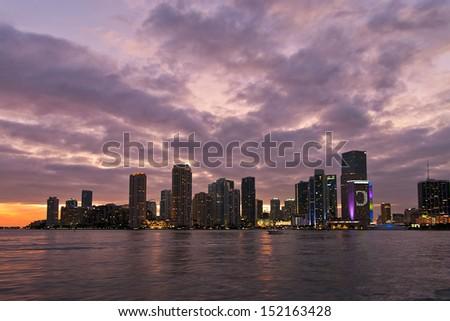 Miami skyline sunset - stock photo