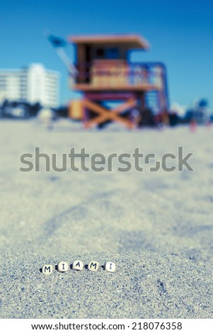 Miami South beach, lifeguard house with letters on the sand, Florida, USA - stock photo