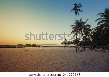 Miami South Beach park at dusk with palms, Florida - stock photo