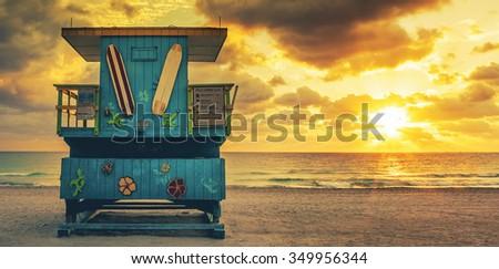 Miami South Beach sunrise with lifeguard tower, USA. - stock photo