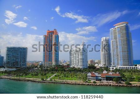 Miami town in day time ,Florida , USA. - stock photo