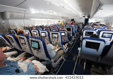MIAMI, UNITED STATES OF AMERICA - 25 APRIL, 2016: Interior of an airplane on an intercontinental flight to America
