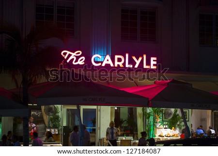 MIAMI , USA - AUG 2: Night view at Ocean drive with The Carlyle hotel on August 02,2010 in Miami, USA. It was designed by Kiehnel & Elliott and opened in 1939.