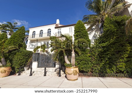 MIAMI, USA - AUG 5, 2013: Versace mansion. In 1997 the world gasped as Gianni Versace was shot to death on the doorstep of his Miami South Beach mansion in Miami, USA. - stock photo