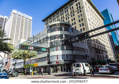 MIAMI, USA - AUGUST 19, 2014: facade of la epoca department store in Miami, USA. Relocated from Havana to Miami in 1965, this is one of Downtown Miami's oldest department stores.