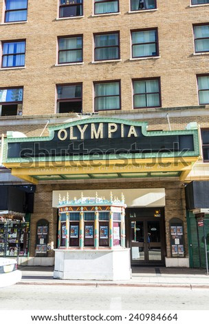 MIAMI, USA - AUGUST 19, 2014: facade of Olympia Cinema in Miami, USA. Olympia Theater by architect  John Eberson was openend in 1926.