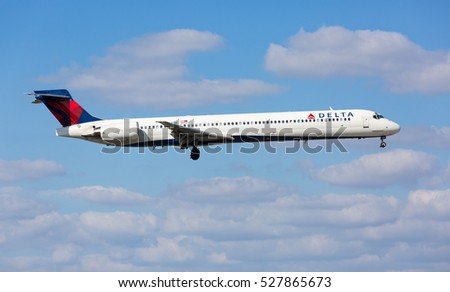 Miami, USA - December 2, 2016: A Delta Air Lines MD-90 aircraft landing at the Miami International Airport.