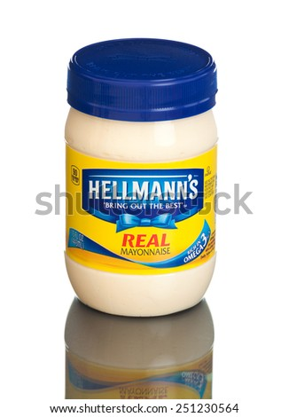 MIAMI, USA - February 9, 2015: Hellmann's Real Mayonnaise. America's #1 Mayonnaise is made with real, simple ingredients: eggs, oil and vinegar.