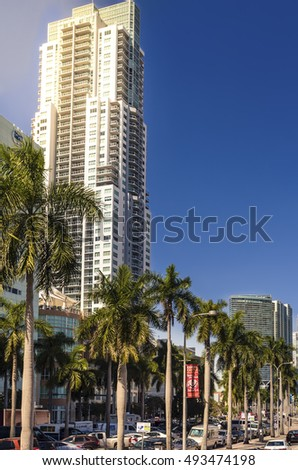 Miami, USA - February 15, 2015: the high rise buildings in downtown in Miami , USA