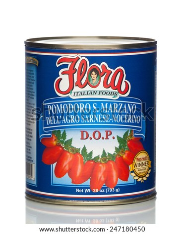 MIAMI, USA - JAN 26, 2015: 28 oz. Flora San Marzano Tomatoes. Authentic Italian Tomato. No cholesterol. This product contains lycopene, an antioxidant that promotes health. All natural.  - stock photo