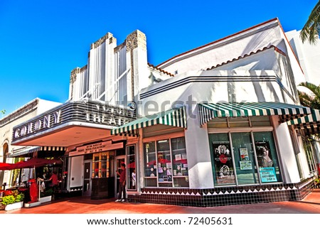 MIAMI, USA - JULY 27: Famous Colony Art Deco Theater renovated for 6,5 Million US $ and open for public again on July 27, 2010 in Miami, USA. Build in 1934 in art deco style to entertain the visitors. - stock photo