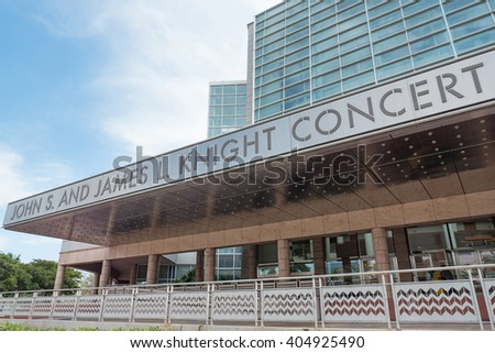 MIAMI, USA - MARCH 19, 2016: John S. and James L. Knight Concert Hall entrance.