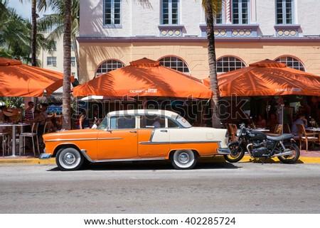 MIAMI, USA - MARCH 14, 2016: The famous Ocean Drive Avenue and Ocean's Ten pub in Miami Beach. - stock photo