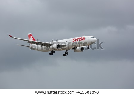 MIAMI, USA - MAY 4, 2016: Airbus A330 Swiss airline taking off from the Miami International Airport. Swiss is the national airline of Switzerland. - stock photo