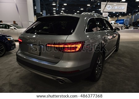 MIAMI, USA - SEPTEMBER 10, 2016: Audi A4 Allroad wagon on display during the Miami International Auto Show at the Miami Beach Convention Center.