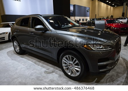 MIAMI, USA - SEPTEMBER 10, 2016: Jaguar F-Pace Prestige SUV on display during the Miami International Auto Show at the Miami Beach Convention Center.