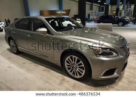 MIAMI, USA - SEPTEMBER 10, 2016: Lexus LS 460 sedan on display during the Miami International Auto Show at the Miami Beach Convention Center.