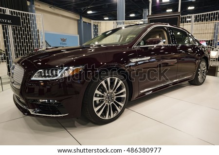 MIAMI, USA - SEPTEMBER 10, 2016: Lincoln Continental sedan on display during the Miami International Auto Show at the Miami Beach Convention Center.