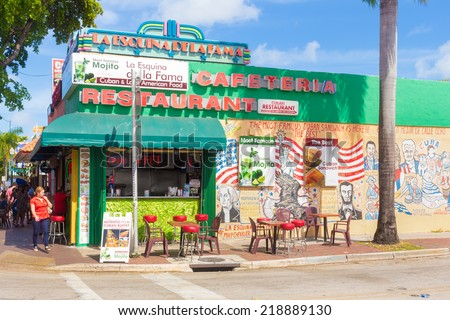 MIAMI,USA - SEPTEMBER 5, 2014 : Typical cuban restaurant at SW 8th Street, a focal point of the cuban community in Miami - stock photo