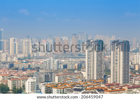 mianyang,china, city panorama  with blue sky
