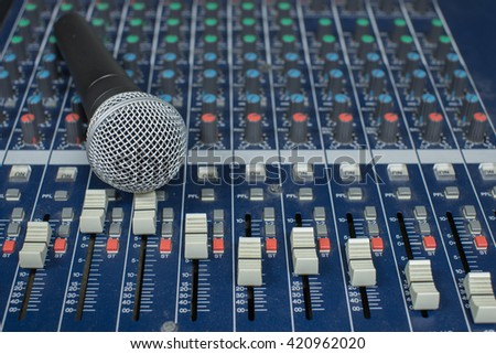 mic and audio mixer - stock photo