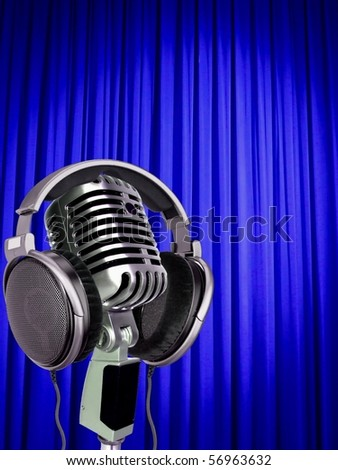 Mic and curtain - stock photo