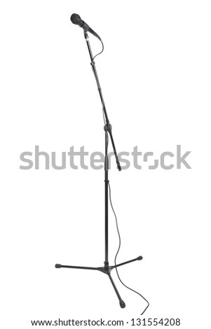 mic stand isolated on white background - stock photo