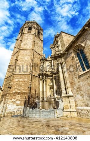 Micalet (El Miguelete, Plaza de la Reina ) - Cathedral of Valencia  (was built 1381 - 1425) on  Queen Square, Valencia. Spain. - stock photo
